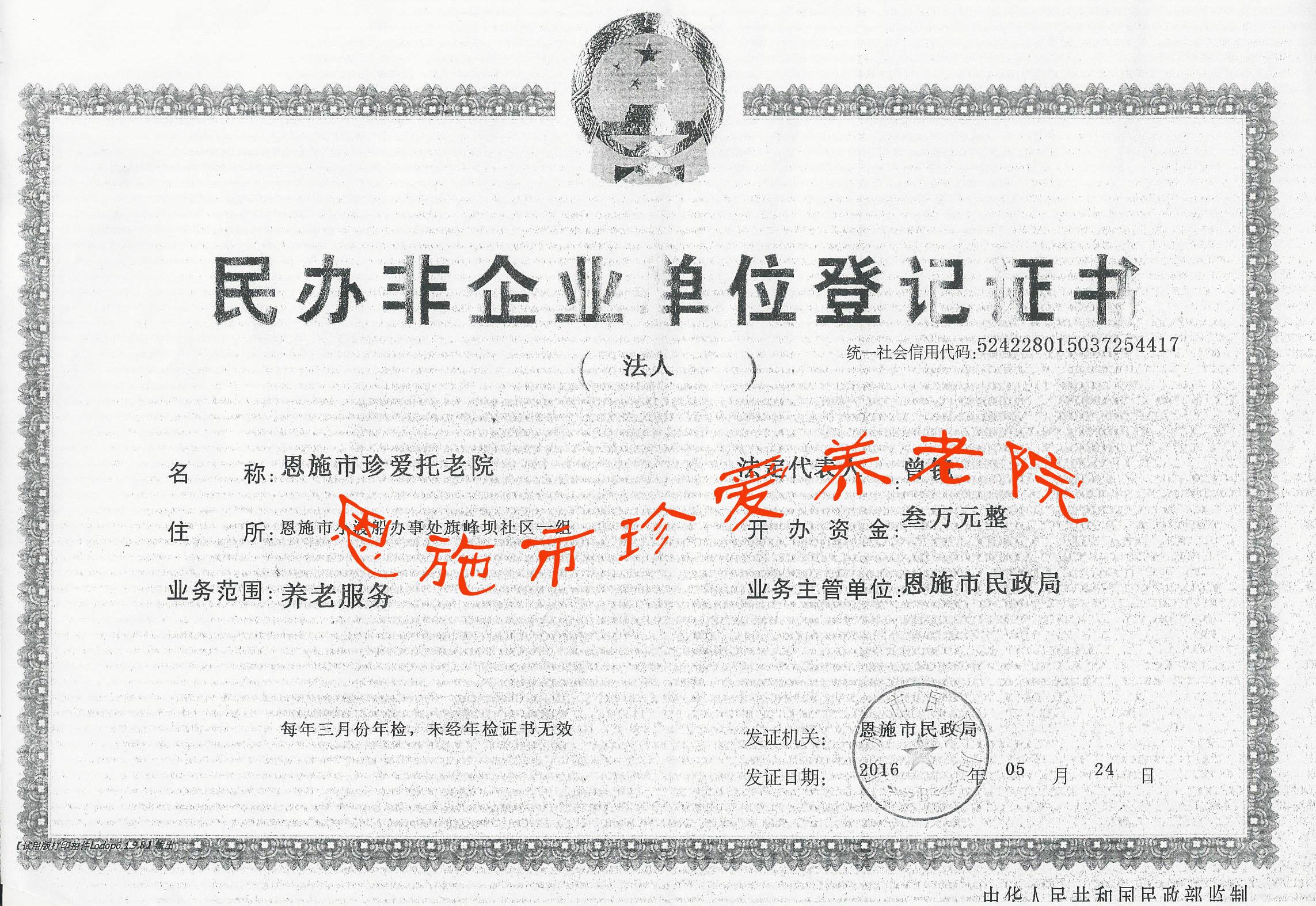 民办非企业单位登记证书